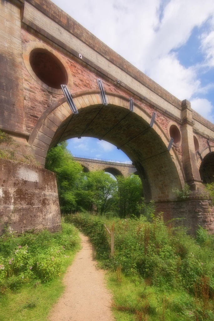 Marple Aqueduct with railway viaduct beyond